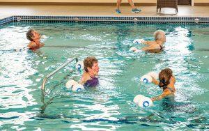 Warm water pool aerobics at Majestic Pines